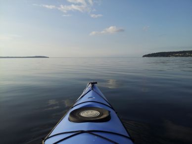 kayaking into calm